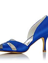 Women's Sandals Comfort Satin Summer Fall Wedding Office & Career Party & Evening Dress Comfort Stiletto Heel Blue 2in-2 3/4in