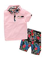 Мальчики Наборы Хлопок Цветочный принт Лето С короткими рукавами Набор одежды