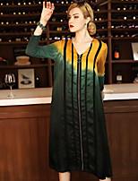 Для женщин На каждый день Оболочка Платье Контрастных цветов,V-образный вырез До колена Длинный рукав Шёлк Весна Со стандартной талией