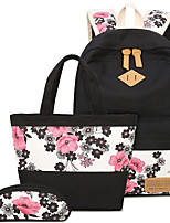 Women Bags All Seasons Canvas Bag Set with for Casual Black