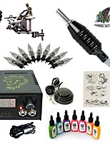 Basekey High Born Tattoo Kit H015-A3 1 Machine With 7 Inks Power Supply 10PCS Needles