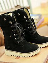 Women's Shoes PU Winter Comfort Boots Chunky Heel Round Toe With For Casual Black Yellow Brown