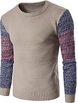Standard Pullover Da uomo-Per uscire Casual Monocolore Rotonda Manica lunga Cotone Elastene Autunno Inverno Spesso Elasticizzato