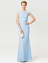 Sheath / Column Illusion Neckline Floor Length Lace Mother of the Bride Dress with Lace by LAN TING BRIDE®