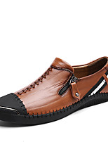 Men's Loafers & Slip-Ons Moccasin Driving Shoes Comfort Leather Fall Winter Casual Office & Career Zipper Flat Heel Brown Black Flat
