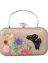 Women Bags All Seasons leatherette Evening Bag with Rhinestone Satin Flower Pearl Detailing Bead Floral Flower Petals Embroidered Pattern