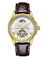 Муж. Модные часы Механические часы Японский С автоподзаводом Защита от влаги С гравировкой Фосфоресцирующий Фаза луны Натуральная кожа