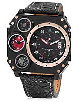 Муж. Спортивные часы Армейские часы Уникальный творческий часы Китайский Кварцевый Календарь С двумя часовыми поясами Кожа Группа Cool