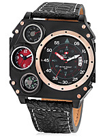 JUBAOLI Men's Sport Watch Military Watch Unique Creative Watch Calendar Dual Time Zones Quartz Leather Band Cool Black Khaki