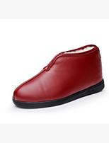 Для женщин Ботинки Удобная обувь Полиуретан Зима Повседневные Черный Красный На плоской подошве