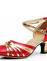 Для женщин Латина Эластичный сатин Сандалии Для открытой площадки С пряжкой На толстом каблуке Черный Красный Синий 5 - 6,8 см