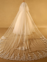 Wedding Veil Two-tier Cathedral Veils Cut Edge Lace Applique Edge Lace Tulle