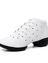 Для женщин Танцевальные кроссовки Натуральная кожа Кроссовки Для открытой площадки Кружева Сторонняя полые из Плоские Белый 2,5 - 4,5 см