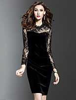 Women's Party Plus Size Work Sexy Bodycon Dress Lace Patchwork Round Neck Above Knee Long Sleeve Blue / Black Spring Fall