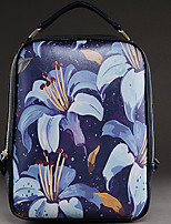 Women Backpack Cowhide All Seasons Casual Round Zipper Ink Blue Sky Blue White Blue