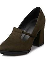 Для женщин Обувь на каблуках Удобная обувь Весна Нубук Лакированная кожа Повседневные Черный Зеленый 9,5 - 12 см