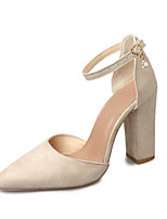 Women's Heels Comfort Spring PU Outdoor Black Beige Blushing Pink 4in-4 3/4in
