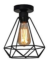 Vintage 1 luzes black metal cage lustre teto lâmpada flush mount sala de jantar cozinha luz fixture