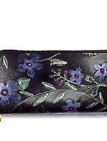 Women Checkbook Wallet Cowhide All Seasons Daily Casual Rectangle Zipper Ruby Coffee Black