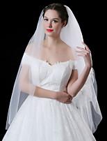 Lady's Elegant Romance Wedding Veil Two-tier Blusher Veils Lace Applique Edge Lace Tulle