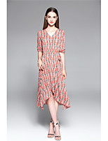 TYZEE Women's Casual/Daily Swing DressFloral Print V Neck Midi Half Sleeve Polyester Spring Summer Mid Rise Micro-elastic Medium