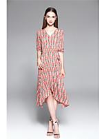 Для женщин На каждый день С летящей юбкой Платье Цветочный принт С принтом,V-образный вырез Средней длины Рукав до локтя ПолиэстерВесна