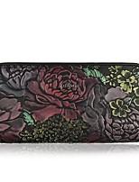 Women Checkbook Wallet Cowhide All Seasons Daily Casual Rectangle Zipper Black Coffee