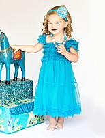 Vestido Chica de Un Color Algodón Poliéster Manga Corta Verano