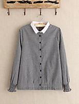 Для женщин На каждый день На выход Лето Осень Рубашка Рубашечный воротник,Простое Активный Шахматка Длинный рукав,Шёлк Хлопок Лён,Средняя