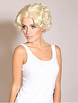 Парики из искусственных волос Без шапочки-основы Короткий Волнистые Блондинка Парик из натуральных волос Карнавальные парики