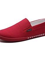 Hombre Zapatos de taco bajo y Slip-Ons Confort Primavera Otoño PU Casual Tacón Plano Negro Gris Rojo Plano