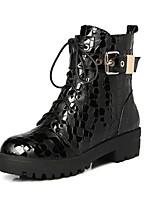 Для женщин Ботинки Удобная обувь Гладиаторы Кожа Осень Зима Повседневные Для трейлраннинга Пряжки Молнии Шнуровка На толстом каблуке