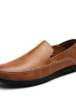 Men's Loafers & Slip-Ons Comfort Summer Fall Cowhide Walking Shoes Casual Split Joint Flat Heel Black Light Brown Flat