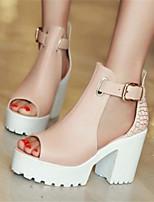 Для женщин Обувь Полиуретан Лето Удобная обувь Обувь на каблуках Назначение Повседневные Белый Синий Розовый