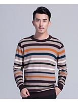 Corto Pullover Da uomo-Casual A strisce Rotonda Manica lunga Lana Cotone Primavera Autunno Medio spessore Media elasticità