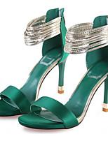Feminino Sapatos De Casamento Conforto Seda Verão Casual Preto Verde 10 a 12 cm
