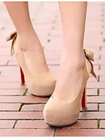 Mujer Zapatos PU Otoño Confort Tacones Para Casual Negro Beige Almendra