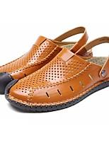 Men's Sandals Light Soles Real Leather Summer Casual Flat Heel Dark Brown Brown Black Flat