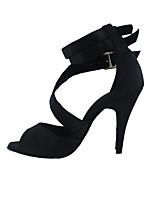 Для женщин Латина Ткань На каблуках Концертная обувь На шпильке Черный Красный