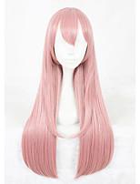 Pelucas sintéticas Sin Tapa Largo Liso Rosa Faux Locs Peluca Peluca de cosplay Las pelucas del traje