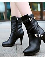 Для женщин Ботинки Удобная обувь Туфли лодочки Натуральная кожа Полиуретан Осень Повседневные Черный Миндальный 7 - 9,5 см