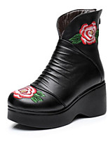 Women's Boots Comfort Fall PU Casual Black 2in-2 3/4in
