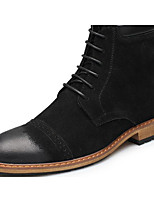 Men's Boots Comfort Fashion Boots Winter Real Leather PU Casual Black Brown Flat
