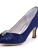 Femme Chaussures de mariage Escarpin Basique Satin Elastique Printemps Automne Mariage Soirée & Evénement Cristal Talon AiguilleNoir Bleu