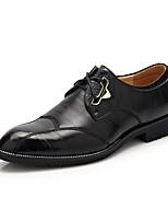 Для мужчин Туфли на шнуровке Удобная обувь Кожа Весна Лето Осень Зима Повседневные Для прогулок Шнуровка На низком каблукеЧерный