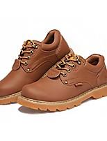 Men's Oxfords Comfort Spring Fall PU Outdoor Office & Career Lace-up Flat Heel Light Brown Dark Brown Yellow Black Flat