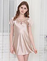 Nuisette & Culottes Satin & Soie Vêtement de nuit Femme,Sexy Solide Polyester