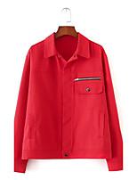 Feminino Jaqueta jeans Para Noite Casual Simples Primavera Outono,Sólido Padrão Algodão Colarinho de Camisa Manga Longa