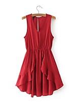 Для женщин Для вечеринок На каждый день Простое Уличный стиль А-силуэт Платье Однотонный Контрастных цветов,V-образный вырез МиниБез