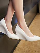 Для женщин Обувь Полиуретан Весна Удобная обувь Кеды На танкетке Заостренный носок Назначение Повседневные Белый Черный Розовый
